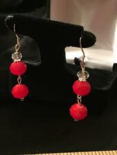 Vtg Red Glass Facet Cut Glass Bead Dangling Drop Pierced Earrings