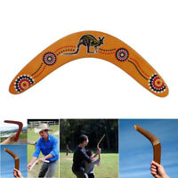 V Shaped Boomerang Flying Disc Wooden Kangaroo Pattern Throw Catch Outdoor Game