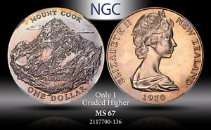 1970 NEW ZEALAND 1 DOLLAR ROYAL VISIT-MOUNT COOK NGC MS 67 ONLY 1 GRADED HIGHER