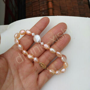 """Classic AAA Natural Akoya White pink Baroque Pearl Bracelet 7.5-8"""" 14k Gold P"""
