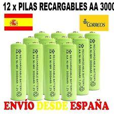 12 PILAS AA 2A BATERIAS RECARGABLES DOBLE A NI-MH 3000MAH 3000 LED MANDOS ESPAÑA