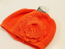DÖLL-  leichte Strickmütze Mütze Beanie orange mit Blume -NEU   Gr 55    296j
