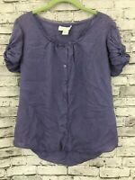 Soft Surroundings Women's Purple Short Sleeve Silk Top Blouse Size Small