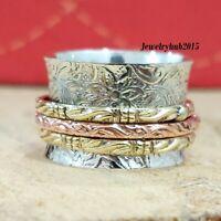 Solid 925 Sterling Silver Spinner Ring Meditation statement Ring Size sr0147