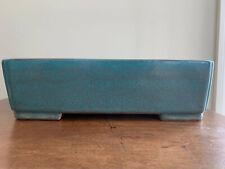 "Green/blue Glazed Tokoname Bonsai Tree Pot By The Yamaaki Kiln 14""x10""x4"""