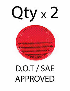 """2"""" Inch Round Red Reflector Adhesive Bike, Trailer, Truck, Boat, Mailbox - Qty 2"""