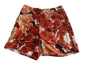 Quiksilver Men's Size 36 Board Shorts Swim Trunks Red Hawaiian