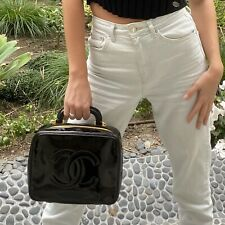 CHANEL Vintage 1996 Black Patent Leather CC Vanity Medium Zip Bag GHW