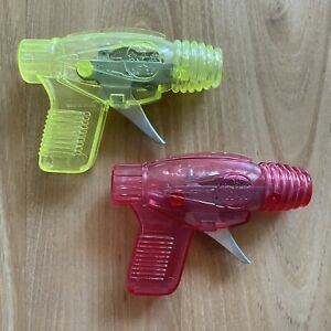 2 Vintage Plastic Space Play Spark & Sound Ray Guns Yellow & Red TESTED & WORKS
