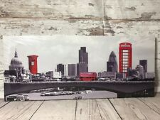 UK London City Skyline Canvas Picture Red Bus BT Phone Box Royal Mail Letter Box