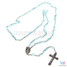 "Aqua Pillars of San Pietro Cylindrical Beads Chain Link Rosary 22"" Length"