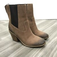 Cole Haan Womens Ankle Boots Size 7B Brown Waterproof Distressed Block Heels