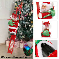 Electric Climbing Ladder Santa Claus Christmas Xmas Music Light Figurine Gift UK