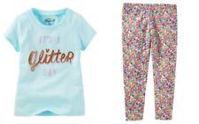 OshKosh B'Gosh Girls' Blue Floral Leggings & Glitter Day Tee Shirt  NWT