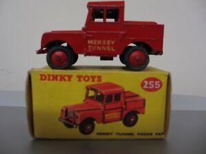 1955-61 DINKY TOYS LAND ROVER MERSEY TUNNEL POLICE VAN No. 255 +ORIGINAL BOX VGC
