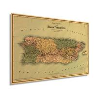HISTORIX Vintage 1886 Puerto Rico Map Wall Art