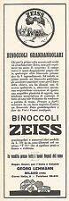 W2050 Binoccoli Grandangolari ZEISS - Pubblicità del 1929 - Vintage advertising
