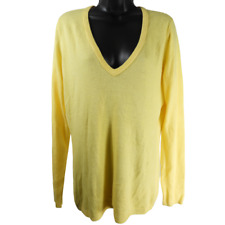 New York & Company Yellow V Neck Long Sleeve Sweater Women's Size Large