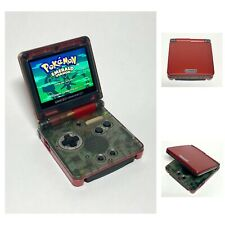 Red/Clear Game Boy Advance SP Mod IPS V2 Screen Console With Charger & Case