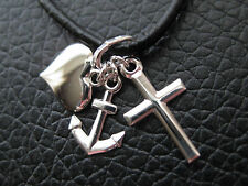 Glaube-Liebe-Hoffnung 925'er Silber Anhänger Kreuz-Herz-Anker / KA 618