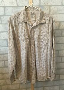 Lucky Brand Distinctive Western floral snap long sleeve men's size Xl