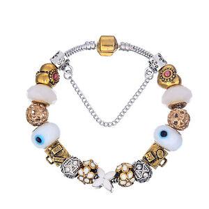 WOW Silver Gold White FLower Purse Murano Beads Charm Bracelet