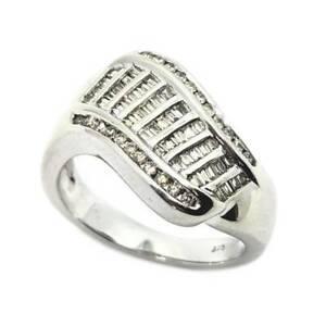 50% OFF SALE Wavy 9ct White Gold Diamond Ring