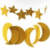 Star Moon Paper Garland Bunting Home Wedding Party Banner Hanging Decoration J