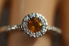 HEAVY RECARLO ITALY 18K SOLID WHITE GOLD CITRINE DIAMOND HALO RING 18KT SZ 7