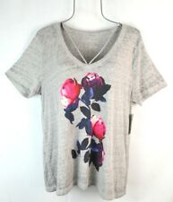 Lucky Brand Womens L Gray Floral Cut Out T-Shirt Top Blouse NEW