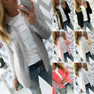 Womens Solid Cardigan Fluffy Fur Open Front Coat Ladies Jacket Casual Outwear