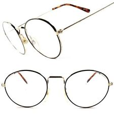 Gold Wire Frame Old Vintage Retro Hippie Hipster Mens Womens Clear Lens Glasses
