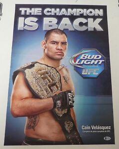 Cain Velasquez Signed 16x24 Poster BAS Beckett COA Photo w/ UFC Belt Autograph
