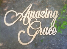 Amazing Grace Word 32in cross painted white wooden wall hanger plaque handmade