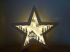 Gisela Graham Natural Wood 5-Point Star LED Light Up Christmas Decoration 35cm