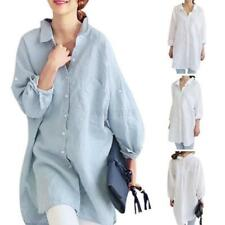 Women Loose Long Sleeve Shirt Oversized Linen Tops Blouse Outwear Jacket Coat UK