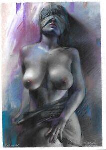 original drawing A4 103KJ art samovar Female nude pastel sketch Signed 2021