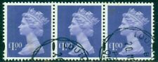 Great Britain Sg-Y1725, Scott # Mh-279 Strip Of 3 Machin, Used, Great Price!