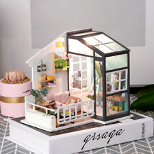 Robotime Balcony Dollhouse with Miniture Furniture LED DIY Modern House Gift Toy