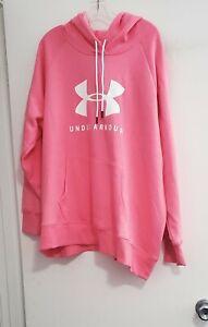 Under Armour Womens Rival Logo Fleece Hooded Sweatshirt Pink Lemonade Sz 1X-NWT