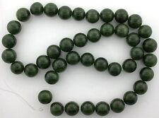 10mm Round Natural Canadian Rich Green Gem Nephrite Jade Beads 15 Inch Strand