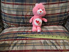 Vtg Care Bears Doll Plush Stuffed Toy Anmial Love a Lot bear Pink two hearts