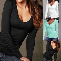 Women Casual V-Neck Long Sleeve Blouse T Shirt Summer Loose Tops Blouse SH