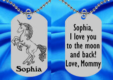 Pretty Unicorn Dog Tag Necklace for Kids, Personalized FREE with NAME!