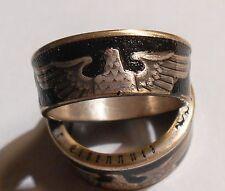 Handmade Custom 90% silver German 5 Mark Paul Von Hindenburg coin Ring 8-14