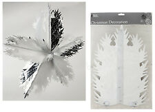 30cm x 15 Section Silver Foil Christmas Star Festive Hanging Decoration Fold Out
