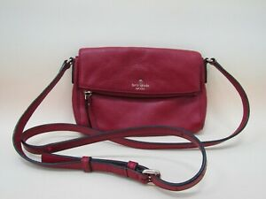 Kate Spade Women's Red Pebbled Leather Flap Crossbody Shoulder Bag