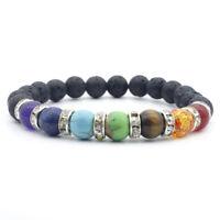 7 Chakra Natural Stone Tiger Eyes Beads Bracelet Charm Fashion Men's Bracelets