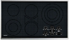 """Wolf CT36E/S 36"""" Electric Cooktop - Framed Stainless Steel Trim - Black"""
