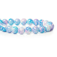 100 BEAUTIFUL HIGH QUALITY GLASS ROUND PRETTY BLUE & PINK BEADS - STUNNING 8mm